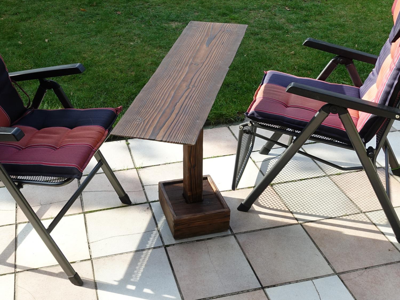 Terrassentisch drehbar-Beistelltisch schmal-Holztisch