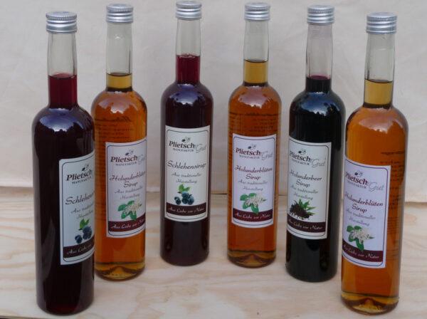 Fruchtsirup-Schlehensirup-Holunderbeersirup-Holunderblütensirup-Holunderblütensaft-Holunderbeersaft-Fliederbeersaft-Schlehensaft